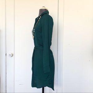 H&M Dresses - H&M Divided Hunter Green Satin Shirt Dress